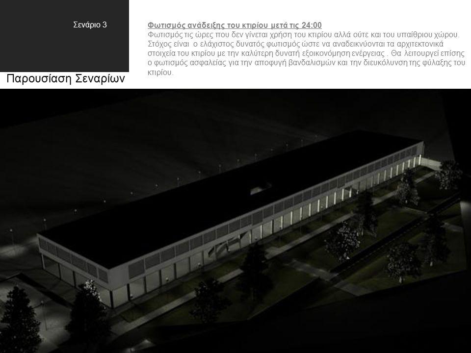 Παρουσίαση Σεναρίων Σενάριο 3 Φωτισμός ανάδειξης του κτιρίου μετά τις 24:00 Φωτισμός τις ώρες που δεν γίνεται χρήση του κτιρίου αλλά ούτε και του υπαίθριου χώρου.