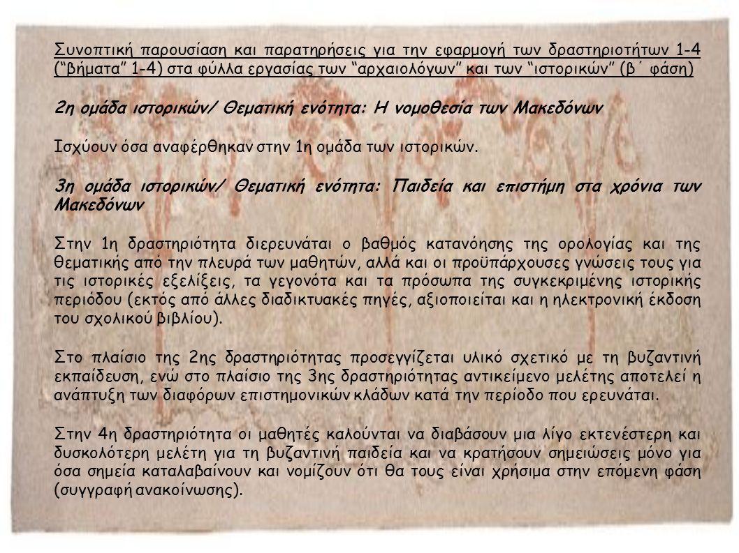 Συνοπτική παρουσίαση και παρατηρήσεις για την εφαρμογή των δραστηριοτήτων 1-4 ( βήματα 1-4) στα φύλλα εργασίας των αρχαιολόγων και των ιστορικών (β΄ φάση) 2η ομάδα ιστορικών/ Θεματική ενότητα: Η νομοθεσία των Μακεδόνων Ισχύουν όσα αναφέρθηκαν στην 1η ομάδα των ιστορικών.