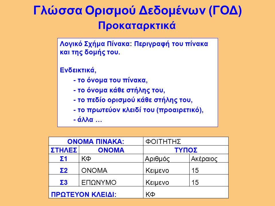 16 Η γλώσσα (υπογλώσσα) του ΣΔΒΔ με την οποία επιτυγχάνεται η διαχείριση (ο χειρισμός) της ΒΔ, δηλαδή η - Εισαγωγή, - Διαγραφή, - Τροποποίηση, - Ανάκτηση δεδομένων.