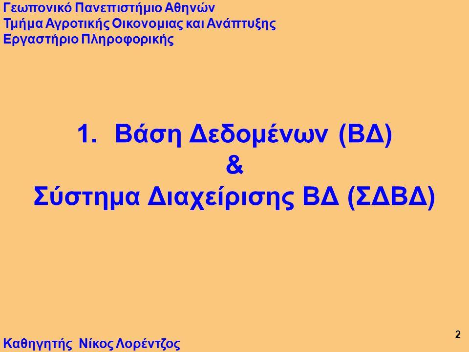 12 Αρχιτεκτονική ΣΔΒΔ Προγράμματα Βάση Χρήστες Εφαρμογών Δεδομένων Προσωπικό Οικονομικά (Αρχεία) Σπουδές …