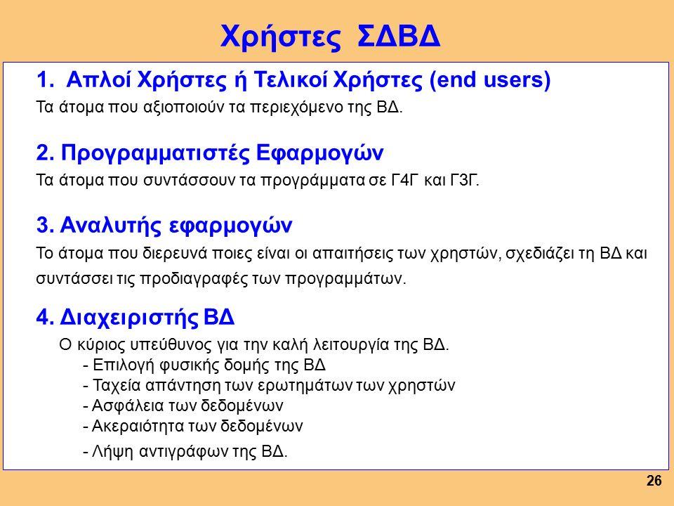 25 Η γλώσσα (υπογλώσσα) του ΣΔΒΔ με την οποία ορίζεται (δηλώνεται) το - Λογικό Σχήμα (η δομή της ΒΔ), - Εξωτερικό Σχήμα - Εσωτερικό Σχήμα της ΒΔ.