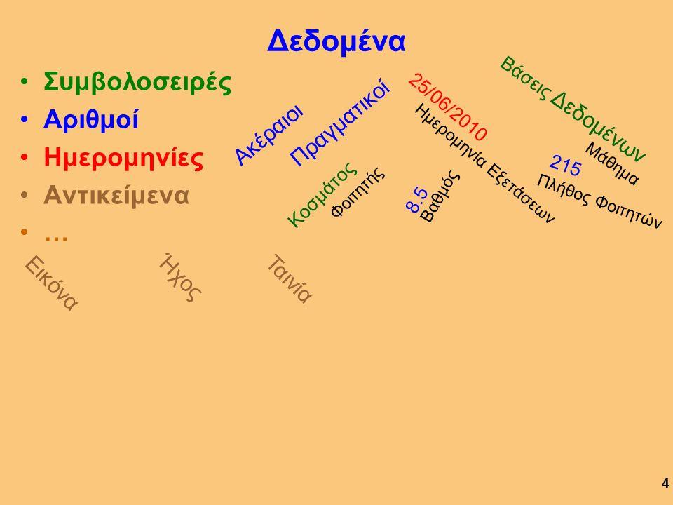 Ορισμός ΣΔΒΔ Γλώσσα 4 ης Γενιάς Σύνολο προγραμμάτων για την αξιοποίηση του περιεχομένου μιας ΒΔ Προς τούτο, το ΣΔΒΔ διαθέτει: Γλώσσα Χειρισμού Δεδομένων (ΓΧΔ) για τη διαχείριση της ΒΔ Γλώσσα Ορισμού Δεδομένων (ΓΟΔ) για τον ορισμό της ΒΔ 14