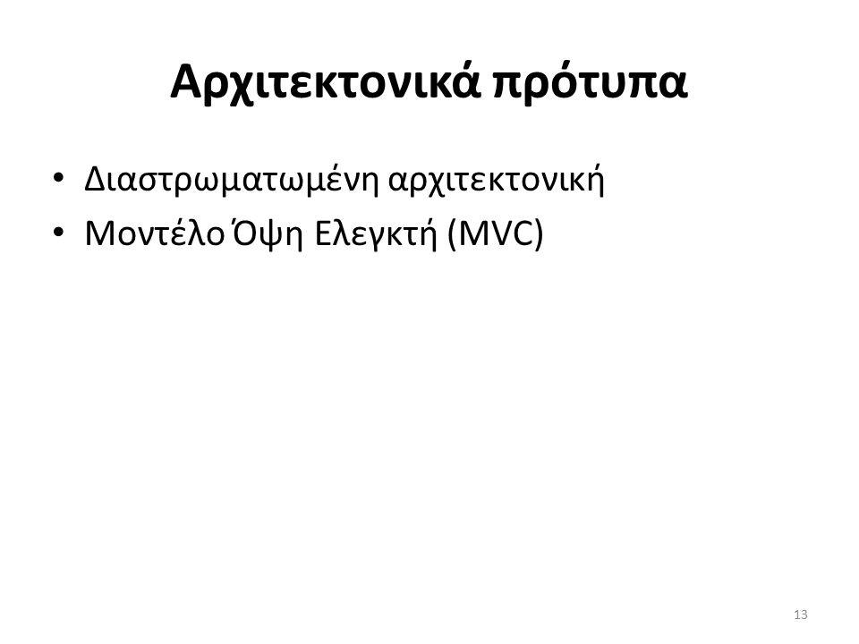 13 Αρχιτεκτονικά πρότυπα Διαστρωματωμένη αρχιτεκτονική Μοντέλο Όψη Ελεγκτή (MVC)