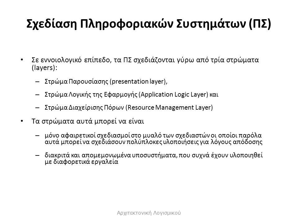 Σχεδίαση Πληροφοριακών Συστημάτων (ΠΣ) Σε εννοιολογικό επίπεδο, τα ΠΣ σχεδιάζονται γύρω από τρία στρώματα (layers): – Στρώμα Παρουσίασης (presentation layer), – Στρώμα Λογικής της Εφαρμογής (Application Logic Layer) και – Στρώμα Διαχείρισης Πόρων (Resource Management Layer) Τα στρώματα αυτά μπορεί να είναι – μόνο αφαιρετικοί σχεδιασμοί στο μυαλό των σχεδιαστών οι οποίοι παρόλα αυτά μπορεί να σχεδιάσουν πολύπλοκες υλοποιήσεις για λόγους απόδοσης – διακριτά και απομεμονωμένα υποσυστήματα, που συχνά έχουν υλοποιηθεί με διαφορετικά εργαλεία Αρχιτεκτονική Λογισμικού