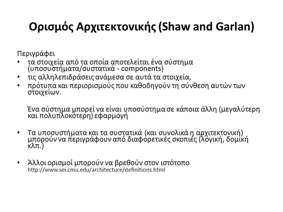 Ορισμός Αρχιτεκτονικής (Shaw and Garlan) Περιγράφει τα στοιχεία από τα οποία αποτελείται ένα σύστημα (υποσυστήματα/συστατικά - components) τις αλληλεπιδράσεις ανάμεσα σε αυτά τα στοιχεία, πρότυπα και περιορισμούς που καθοδηγούν τη σύνθεση αυτών των στοιχείων.