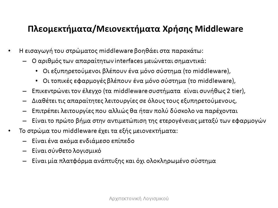 Πλεομεκτήματα/Μειονεκτήματα Χρήσης Μiddleware Η εισαγωγή του στρώματος middleware βοηθάει στα παρακάτω: – Ο αριθμός των απαραίτητων interfaces μειώνεται σημαντικά: Οι εξυπηρετούμενοι βλέπουν ένα μόνο σύστημα (το middleware), Οι τοπικές εφαρμογές βλέπουν ένα μόνο σύστημα (το middleware), – Επικεντρώνει τον έλεγχο (τα middleware συστήματα είναι συνήθως 2 tier), – Διαθέτει τις απαραίτητες λειτουργίες σε όλους τους εξυπηρετούμενους, – Επιτρέπει λειτουργίες που αλλιώς θα ήταν πολύ δύσκολο να παρέχονται – Είναι το πρώτο βήμα στην αντιμετώπιση της ετερογένειας μεταξύ των εφαρμογών Το στρώμα του middleware έχει τα εξής μειονεκτήματα: – Είναι ένα ακόμα ενδιάμεσο επίπεδο – Είναι σύνθετο λογισμικό – Είναι μία πλατφόρμα ανάπτυξης και όχι ολοκληρωμένο σύστημα Αρχιτεκτονική Λογισμικού