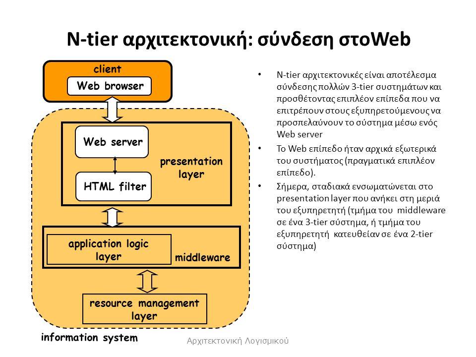 N-tier αρχιτεκτονική: σύνδεση στοWeb N-tier αρχιτεκτονικές είναι αποτέλεσμα σύνδεσης πολλών 3-tier συστημάτων και προσθέτοντας επιπλέον επίπεδα που να επιτρέπουν στους εξυπηρετούμενους να προσπελαύνουν το σύστημα μέσω ενός Web server Το Web επίπεδο ήταν αρχικά εξωτερικά του συστήματος (πραγματικά επιπλέον επίπεδο).
