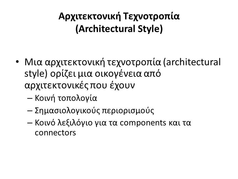 Αρχιτεκτονική Τεχνοτροπία (Architectural Style) Μια αρχιτεκτονική τεχνοτροπία (architectural style) ορίζει μια οικογένεια από αρχιτεκτονικές που έχουν – Κοινή τοπολογία – Σημασιολογικούς περιορισμούς – Κοινό λεξιλόγιο για τα components και τα connectors