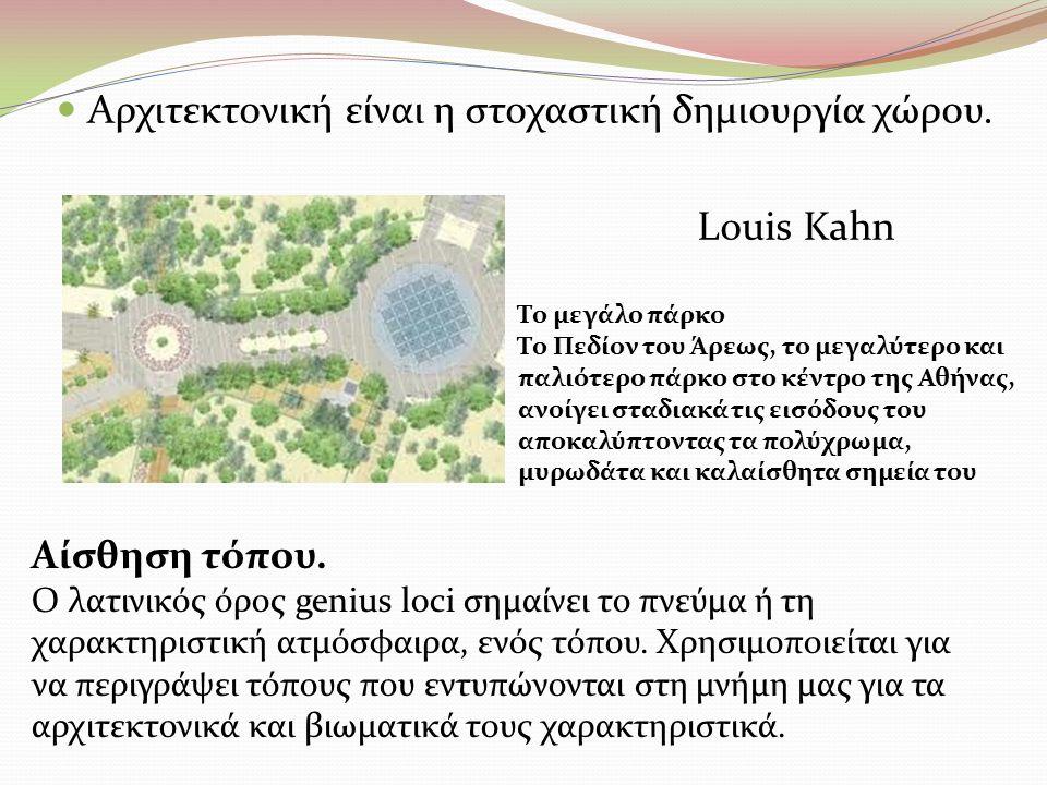 Αρχιτεκτονική είναι η στοχαστική δημιουργία χώρου. Louis Kahn Αίσθηση τόπου. Ο λατινικός όρος genius loci σημαίνει το πνεύμα ή τη χαρακτηριστική ατμόσ