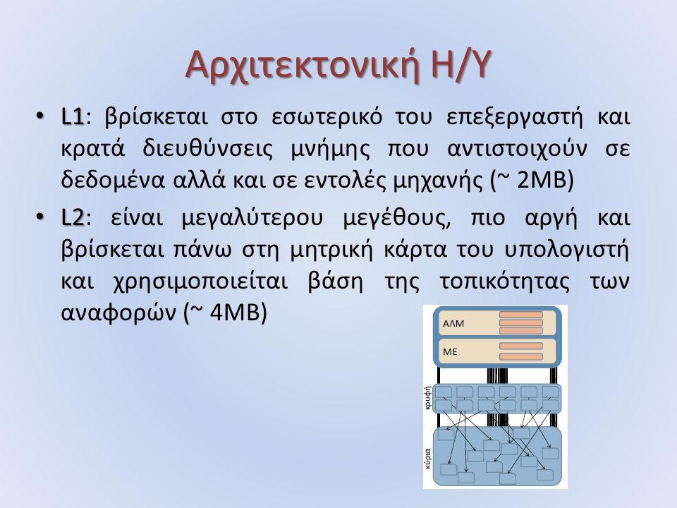 Αρχιτεκτονική Η/Υ L1 L1: βρίσκεται στο εσωτερικό του επεξεργαστή και κρατά διευθύνσεις μνήμης που αντιστοιχούν σε δεδομένα αλλά και σε εντολές μηχανής (~ 2MB) L2 L2: είναι μεγαλύτερου μεγέθους, πιο αργή και βρίσκεται πάνω στη μητρική κάρτα του υπολογιστή και χρησιμοποιείται βάση της τοπικότητας των αναφορών (~ 4MB)