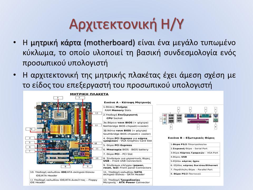 Αρχιτεκτονική Η/Υ μητρική κάρτα (motherboard) Η μητρική κάρτα (motherboard) είναι ένα μεγάλο τυπωμένο κύκλωμα, το οποίο υλοποιεί τη βασική συνδεσμολογία ενός προσωπικού υπολογιστή Η αρχιτεκτονική της μητρικής πλακέτας έχει άμεση σχέση με το είδος του επεξεργαστή του προσωπικού υπολογιστή