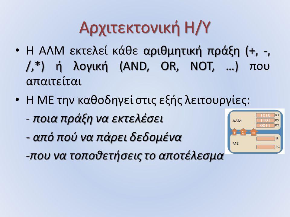 Αρχιτεκτονική Η/Υ αριθμητική πράξη (+, ‐, /,*) ή λογική (ΑND, OR, NOT, …) Η ΑΛΜ εκτελεί κάθε αριθμητική πράξη (+, ‐, /,*) ή λογική (ΑND, OR, NOT, …) που απαιτείται Η ΜΕ την καθοδηγεί στις εξής λειτουργίες: ποια πράξη να εκτελέσει - ποια πράξη να εκτελέσει - από πού να πάρει δεδομένα -που να τοποθετήσεις το αποτέλεσμα