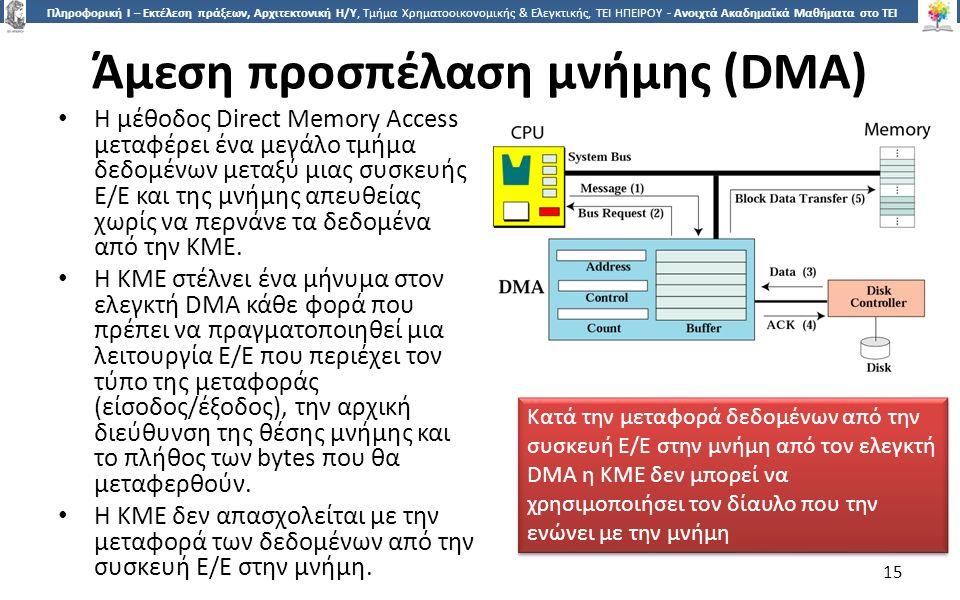 1515 Πληροφορική Ι – Εκτέλεση πράξεων, Αρχιτεκτονική Η/Υ, Τμήμα Χρηματοοικονομικής & Ελεγκτικής, ΤΕΙ ΗΠΕΙΡΟΥ - Ανοιχτά Ακαδημαϊκά Μαθήματα στο ΤΕΙ Ηπείρου Άμεση προσπέλαση μνήμης (DMA) Η μέθοδος Direct Memory Access μεταφέρει ένα μεγάλο τμήμα δεδομένων μεταξύ μιας συσκευής Ε/Ε και της μνήμης απευθείας χωρίς να περνάνε τα δεδομένα από την ΚΜΕ.