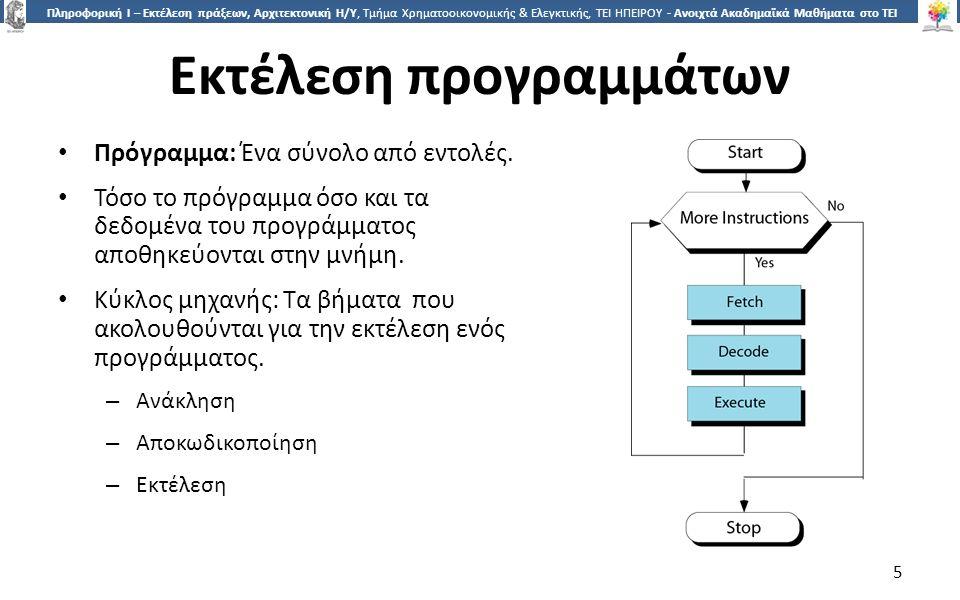 5 Πληροφορική Ι – Εκτέλεση πράξεων, Αρχιτεκτονική Η/Υ, Τμήμα Χρηματοοικονομικής & Ελεγκτικής, ΤΕΙ ΗΠΕΙΡΟΥ - Ανοιχτά Ακαδημαϊκά Μαθήματα στο ΤΕΙ Ηπείρου Εκτέλεση προγραμμάτων 5 Πρόγραμμα: Ένα σύνολο από εντολές.