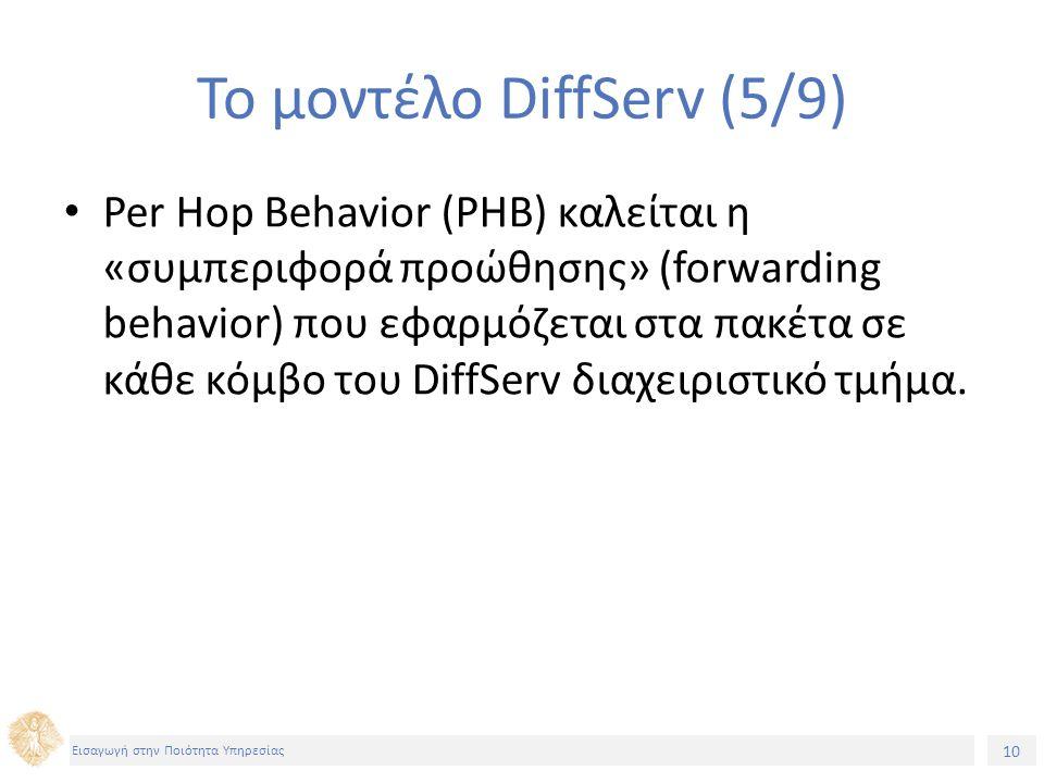 10 Εισαγωγή στην Ποιότητα Υπηρεσίας Το μοντέλο DiffServ (5/9) Per Hop Behavior (PHB) καλείται η «συμπεριφορά προώθησης» (forwarding behavior) που εφαρμόζεται στα πακέτα σε κάθε κόμβο του DiffServ διαχειριστικό τμήμα.