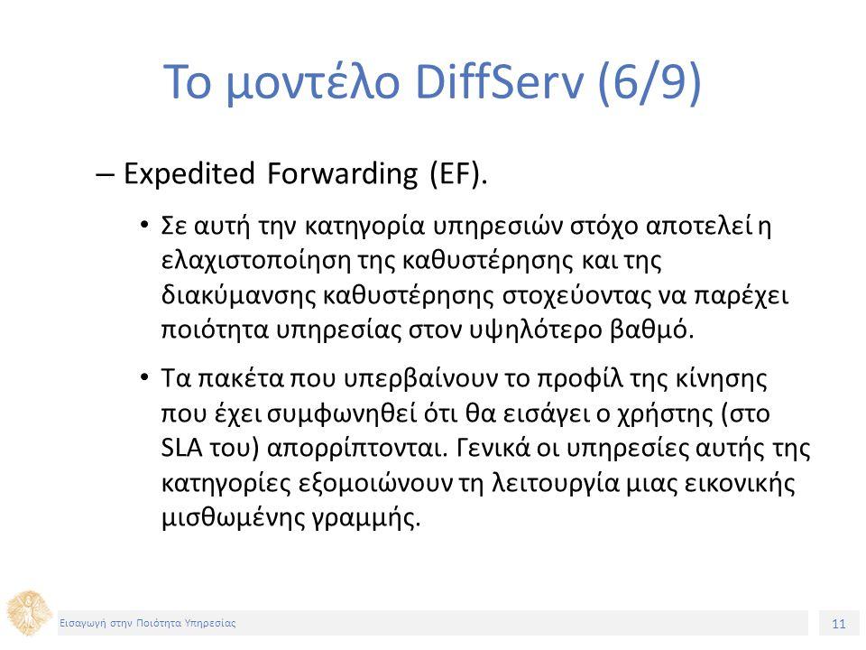 11 Εισαγωγή στην Ποιότητα Υπηρεσίας Το μοντέλο DiffServ (6/9) – Expedited Forwarding (EF).