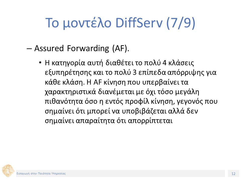12 Εισαγωγή στην Ποιότητα Υπηρεσίας Το μοντέλο DiffServ (7/9) – Assured Forwarding (AF).