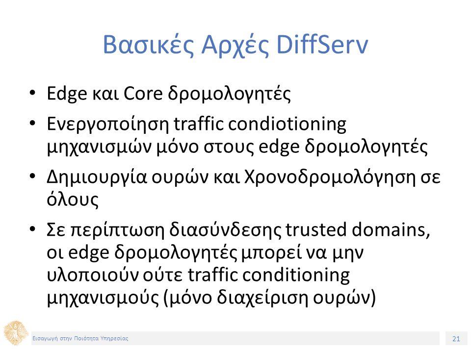 21 Εισαγωγή στην Ποιότητα Υπηρεσίας Βασικές Αρχές DiffServ Edge και Core δρομολογητές Ενεργοποίηση traffic condiotioning μηχανισμών μόνο στους edge δρομολογητές Δημιουργία ουρών και Χρονοδρομολόγηση σε όλους Σε περίπτωση διασύνδεσης trusted domains, οι edge δρομολογητές μπορεί να μην υλοποιούν ούτε traffic conditioning μηχανισμούς (μόνο διαχείριση ουρών)