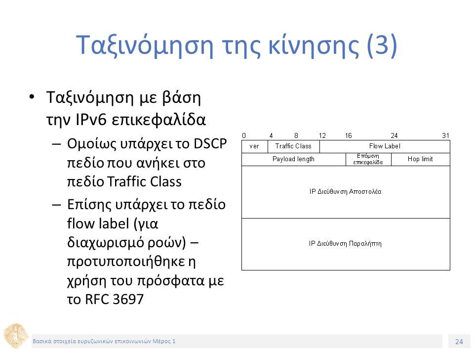 24 Βασικά στοιχεία ευρυζωνικών επικοινωνιών Μέρος 1 Ταξινόμηση της κίνησης (3) Ταξινόμηση με βάση την IPv6 επικεφαλίδα – Ομοίως υπάρχει το DSCP πεδίο που ανήκει στο πεδίο Traffic Class – Επίσης υπάρχει το πεδίο flow label (για διαχωρισμό ροών) – προτυποποιήθηκε η χρήση του πρόσφατα με το RFC 3697