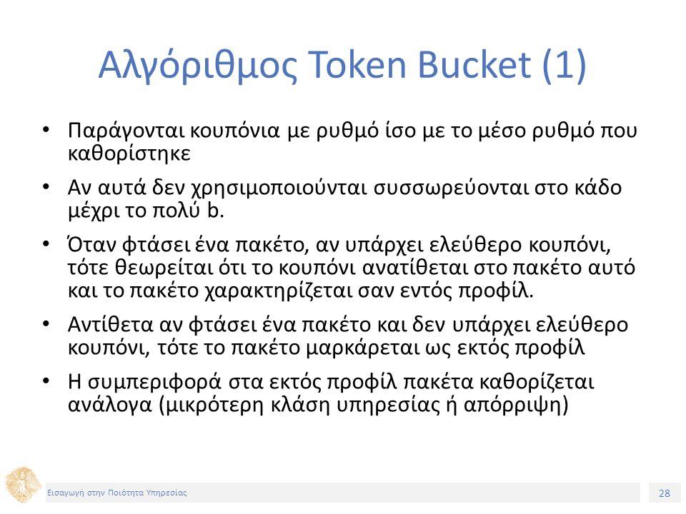 28 Εισαγωγή στην Ποιότητα Υπηρεσίας Αλγόριθμος Token Bucket (1) Παράγονται κουπόνια με ρυθμό ίσο με το μέσο ρυθμό που καθορίστηκε Αν αυτά δεν χρησιμοποιούνται συσσωρεύονται στο κάδο μέχρι το πολύ b.