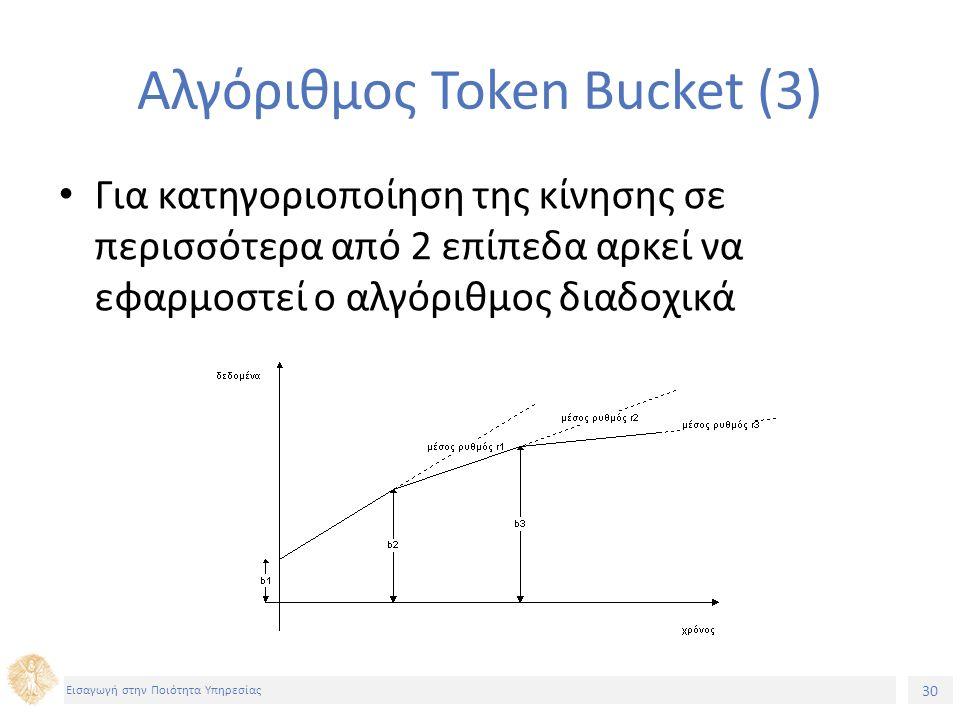 30 Εισαγωγή στην Ποιότητα Υπηρεσίας Αλγόριθμος Token Bucket (3) Για κατηγοριοποίηση της κίνησης σε περισσότερα από 2 επίπεδα αρκεί να εφαρμοστεί ο αλγόριθμος διαδοχικά