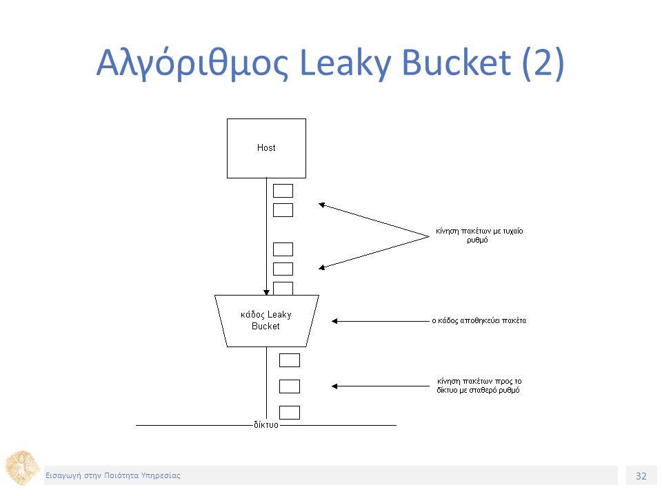 32 Εισαγωγή στην Ποιότητα Υπηρεσίας Αλγόριθμος Leaky Bucket (2)