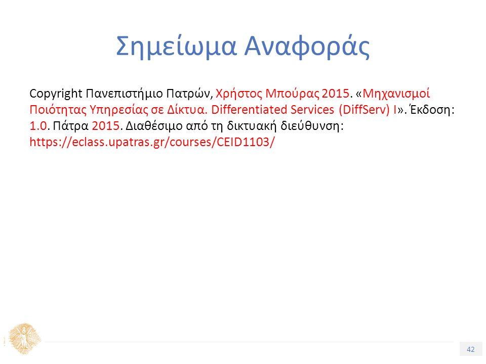 42 Εισαγωγή στην Ποιότητα Υπηρεσίας Σημείωμα Αναφοράς Copyright Πανεπιστήμιο Πατρών, Χρήστος Μπούρας 2015.