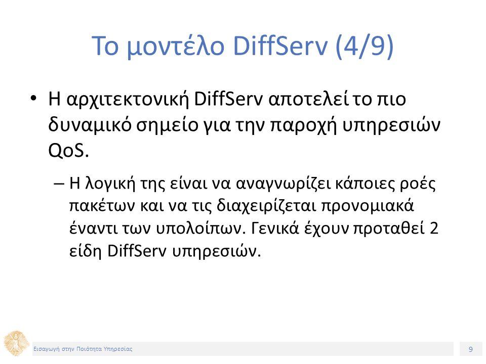 9 Εισαγωγή στην Ποιότητα Υπηρεσίας Το μοντέλο DiffServ (4/9) H αρχιτεκτονική DiffServ αποτελεί το πιο δυναμικό σημείο για την παροχή υπηρεσιών QoS.