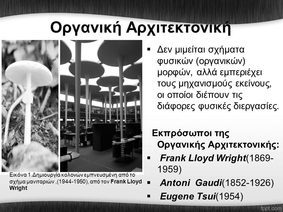 Οργανική Αρχιτεκτονική  Δεν μιμείται σχήματα φυσικών (οργανικών) μορφών, αλλά εμπεριέχει τους μηχανισμούς εκείνους, οι οποίοι διέπουν τις διάφορες φυσικές διεργασίες.