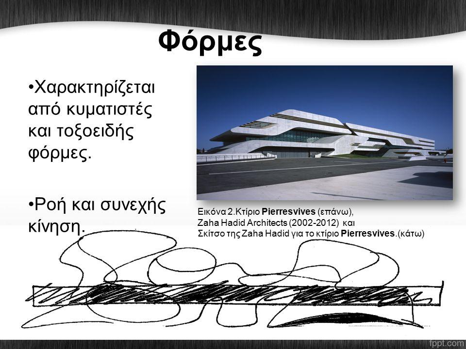 Φόρμες Χαρακτηρίζεται από κυματιστές και τοξοειδής φόρμες. Ροή και συνεχής κίνηση. Εικόνα 2.Κτίριο Pierresvives (επάνω), Ζaha Hadid Architects (2002-2