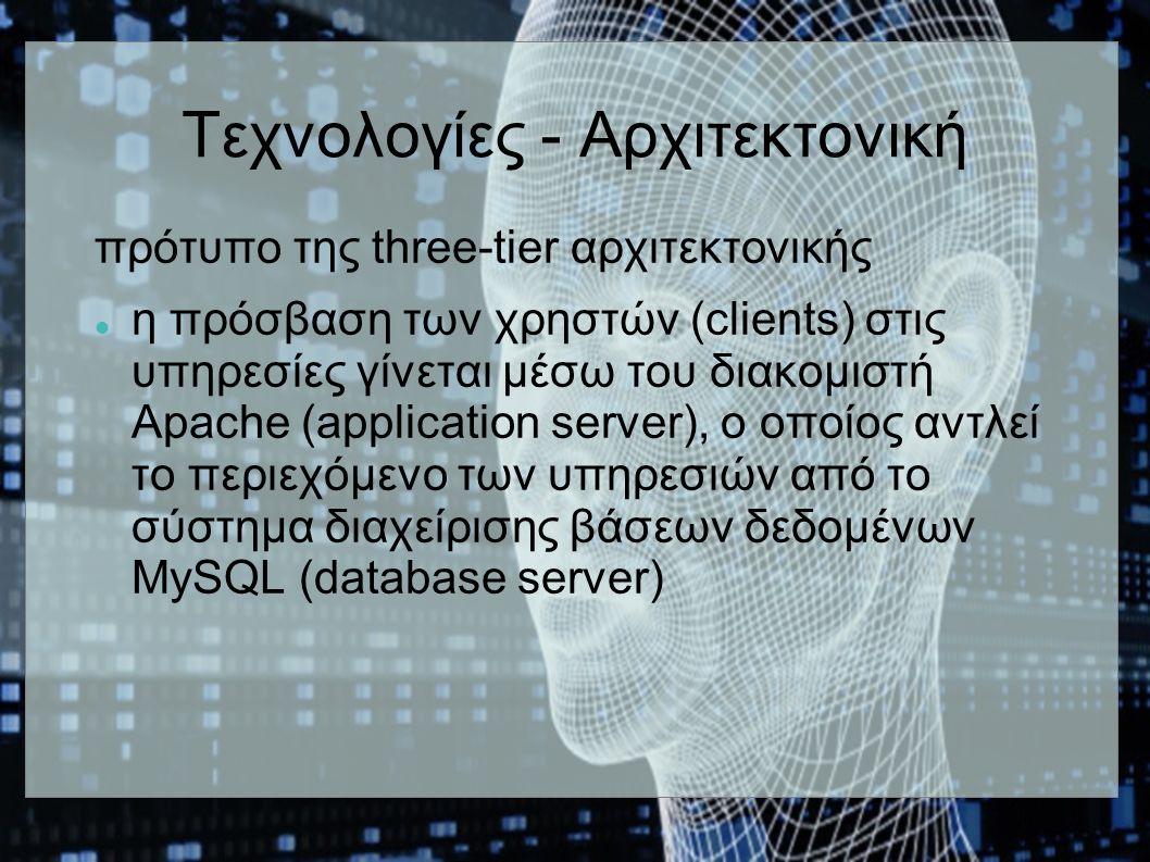 Τεχνολογίες - Αρχιτεκτονική πρότυπο της three-tier αρχιτεκτονικής η πρόσβαση των χρηστών (clients) στις υπηρεσίες γίνεται μέσω του διακομιστή Apache (application server), ο οποίος αντλεί το περιεχόμενο των υπηρεσιών από το σύστημα διαχείρισης βάσεων δεδομένων MySQL (database server)
