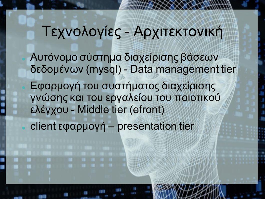Τεχνολογίες - Αρχιτεκτονική Aυτόνομο σύστημα διαχείρισης βάσεων δεδομένων (mysql) - Data management tier Eφαρμογή του συστήματος διαχείρισης γνώσης και του εργαλείου του ποιοτικού ελέγχου - Middle tier (efront) client εφαρμογή – presentation tier