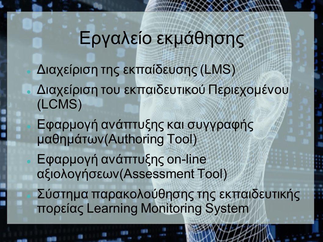 Εργαλείο εκμάθησης Διαχείριση της εκπαίδευσης (LMS) Διαχείριση του εκπαιδευτικού Περιεχομένου (LCMS) Εφαρμογή ανάπτυξης και συγγραφής μαθημάτων(Authoring Tool) Εφαρμογή ανάπτυξης on-line αξιολογήσεων(Assessment Tool) Σύστημα παρακολούθησης της εκπαιδευτικής πορείας Learning Monitoring System