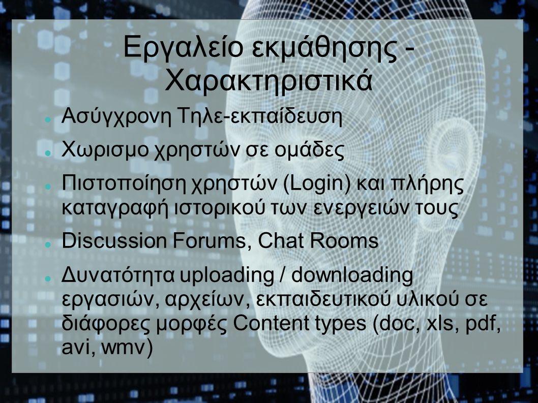 Εργαλείο εκμάθησης - Χαρακτηριστικά Ασύγχρονη Τηλε-εκπαίδευση Χωρισμο χρηστών σε ομάδες Πιστοποίηση χρηστών (Login) και πλήρης καταγραφή ιστορικού των ενεργειών τους Discussion Forums, Chat Rooms Δυνατότητα uploading / downloading εργασιών, αρχείων, εκπαιδευτικού υλικού σε διάφορες μορφές Content types (doc, xls, pdf, avi, wmv)
