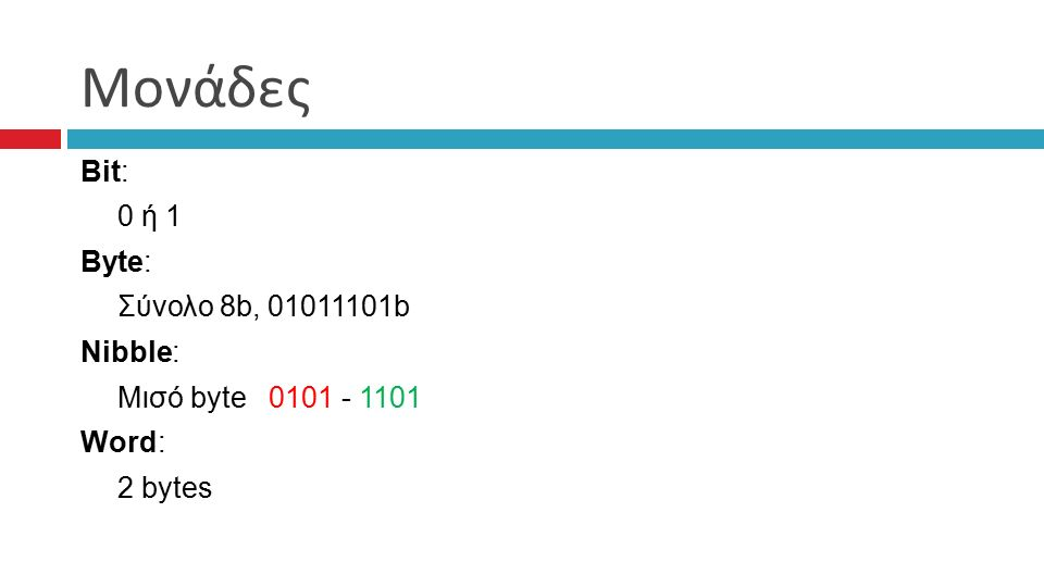 Μονάδες Bit: 0 ή 1 Byte: Σύνολο 8b, 01011101b Nibble: Μισό byte 0101 - 1101 Word: 2 bytes