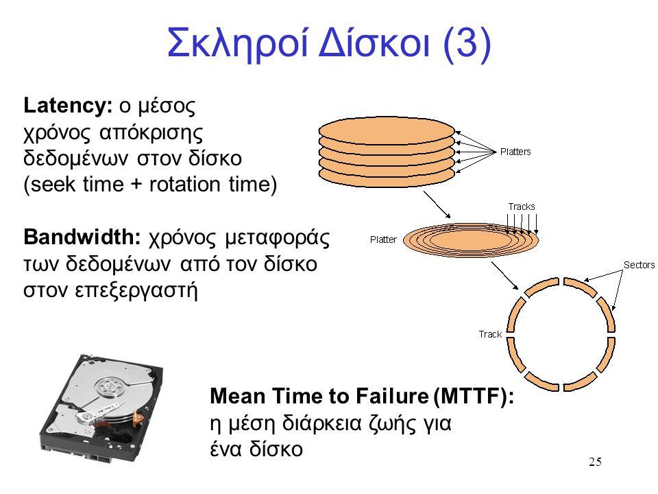 25 Σκληροί Δίσκοι (3) Latency: ο μέσος χρόνος απόκρισης δεδομένων στον δίσκο (seek time + rotation time) Bandwidth: χρόνος μεταφοράς των δεδομένων από τον δίσκο στον επεξεργαστή Μean Time to Failure (MTTF): η μέση διάρκεια ζωής για ένα δίσκο