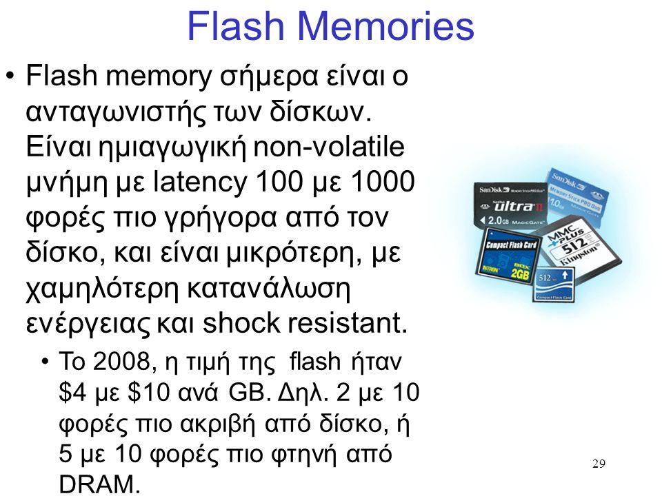 29 Flash Memories Flash memory σήμερα είναι ο ανταγωνιστής των δίσκων.