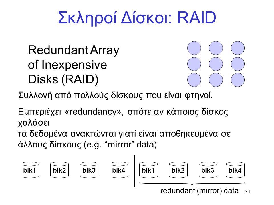 31 Σκληροί Δίσκοι: RAID Redundant Array of Inexpensive Disks (RAID) Συλλογή από πολλούς δίσκους που είναι φτηνοί.