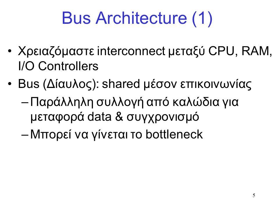 5 Bus Architecture (1) Χρειαζόμαστε interconnect μεταξύ CPU, RAM, I/O Controllers Bus (Δίαυλος): shared μέσον επικοινωνίας –Παράλληλη συλλογή από καλώδια για μεταφορά data & συγχρονισμό –Μπορεί να γίνεται το bottleneck