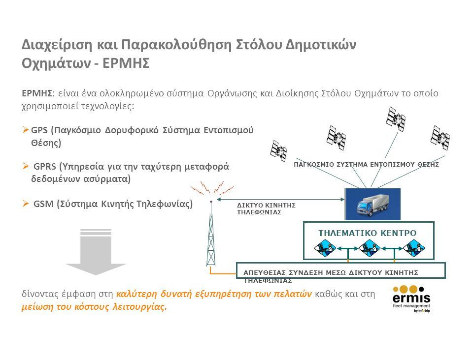 Διαχείριση και Παρακολούθηση Στόλου Δημοτικών Οχημάτων - ΕΡΜΗΣ ΕΡΜΗΣ: είναι ένα ολοκληρωμένο σύστημα Οργάνωσης και Διοίκησης Στόλου Οχημάτων το οποίο χρησιμοποιεί τεχνολογίες:  GPS (Παγκόσμιο Δορυφορικό Σύστημα Εντοπισμού Θέσης)  GPRS (Υπηρεσία για την ταχύτερη μεταφορά δεδομένων ασύρματα)  GSM (Σύστημα Κινητής Τηλεφωνίας) ΠΑΓΚΟΣΜΙΟ ΣΥΣΤΗΜΑ ΕΝΤΟΠΙΣΜΟΥ ΘΕΣΗΣ ΔΙΚΤΥΟ ΚΙΝΗΤΗΣ ΤΗΛΕΦΩΝΙΑΣ ΤΗΛΕΜΑΤΙΚΟ ΚΕΝΤΡΟ ΑΠΕΥΘΕΙΑΣ ΣΥΝΔΕΣΗ ΜΕΣΩ ΔΙΚΤΥΟΥ ΚΙΝΗΤΗΣ ΤΗΛΕΦΩΝΙΑΣ δίνοντας έμφαση στη καλύτερη δυνατή εξυπηρέτηση των πελατών καθώς και στη μείωση του κόστους λειτουργίας.