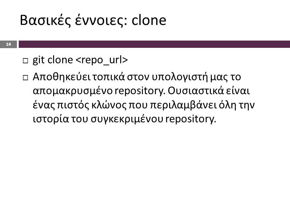 Βασικές έννοιες: clone 14  git clone  Αποθηκεύει τοπικά στον υπολογιστή μας το απομακρυσμένο repository.