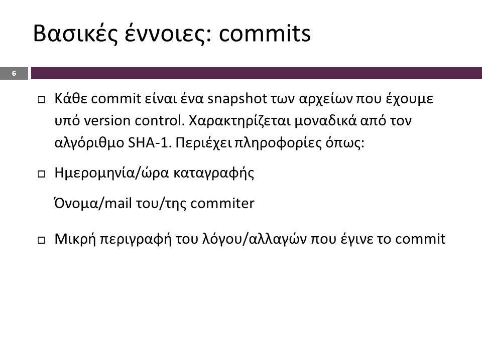 Βασικές έννοιες: commits 6  Κάθε commit είναι ένα snapshot των αρχείων που έχουμε υπό version control.