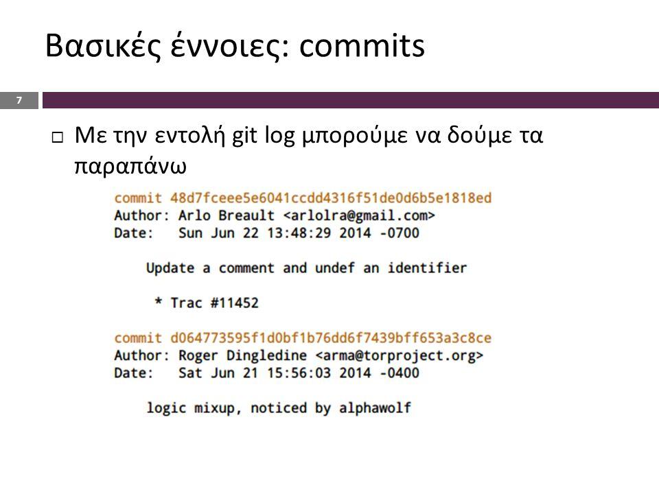 Βασικές έννοιες: commits 7  Με την εντολή git log μπορούμε να δούμε τα παραπάνω