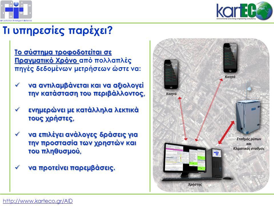 http://www.karteco.gr/AID Το σύστημα τροφοδοτείται σε Πραγματικό Χρόνο Το σύστημα τροφοδοτείται σε Πραγματικό Χρόνο από πολλαπλές πηγές δεδομένων μετρήσεων ώστε να: να αντιλαμβάνεται και να αξιολογεί την κατάσταση του περιβάλλοντος, να αντιλαμβάνεται και να αξιολογεί την κατάσταση του περιβάλλοντος, ενημερώνει με κατάλληλα λεκτικά τους χρήστες, ενημερώνει με κατάλληλα λεκτικά τους χρήστες, να επιλέγει ανάλογες δράσεις για την προστασία των χρηστών και του πληθυσμού, να επιλέγει ανάλογες δράσεις για την προστασία των χρηστών και του πληθυσμού, να προτείνει παρεμβάσεις.