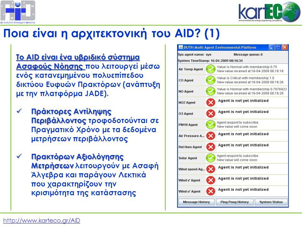http://www.karteco.gr/AID Το AID είναι ένα υβριδικό σύστημα Ασαφούς Νόησης Το AID είναι ένα υβριδικό σύστημα Ασαφούς Νόησης που λειτουργεί μέσω ενός κατανεμημένου πολυεπίπεδου δικτύου Ευφυών Πρακτόρων (ανάπτυξη με την πλατφόρμα JADE).