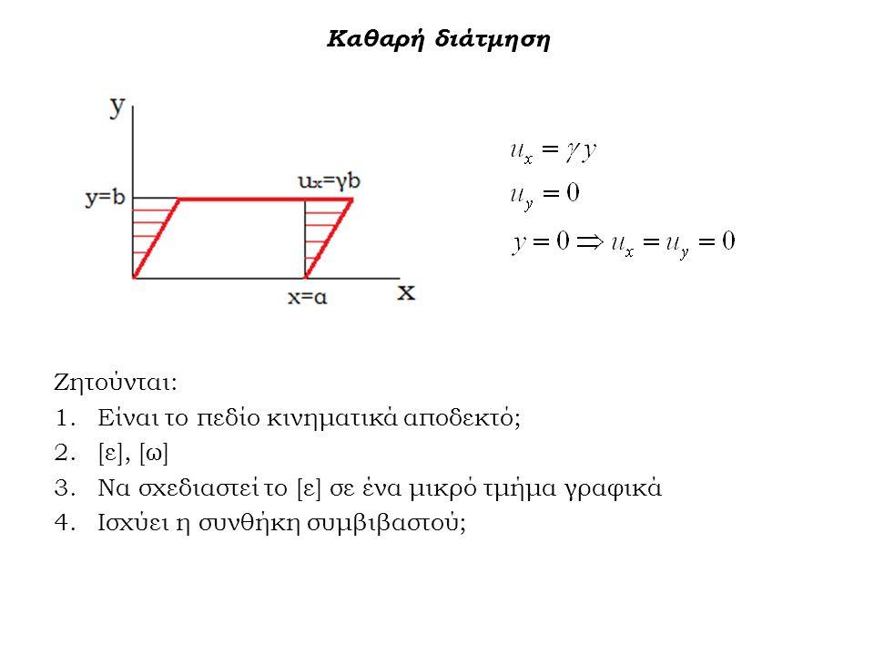 Καθαρή διάτμηση Ζητούνται: 1.Είναι το πεδίο κινηματικά αποδεκτό; 2.[ε], [ω] 3.Να σχεδιαστεί το [ε] σε ένα μικρό τμήμα γραφικά 4.Ισχύει η συνθήκη συμβι