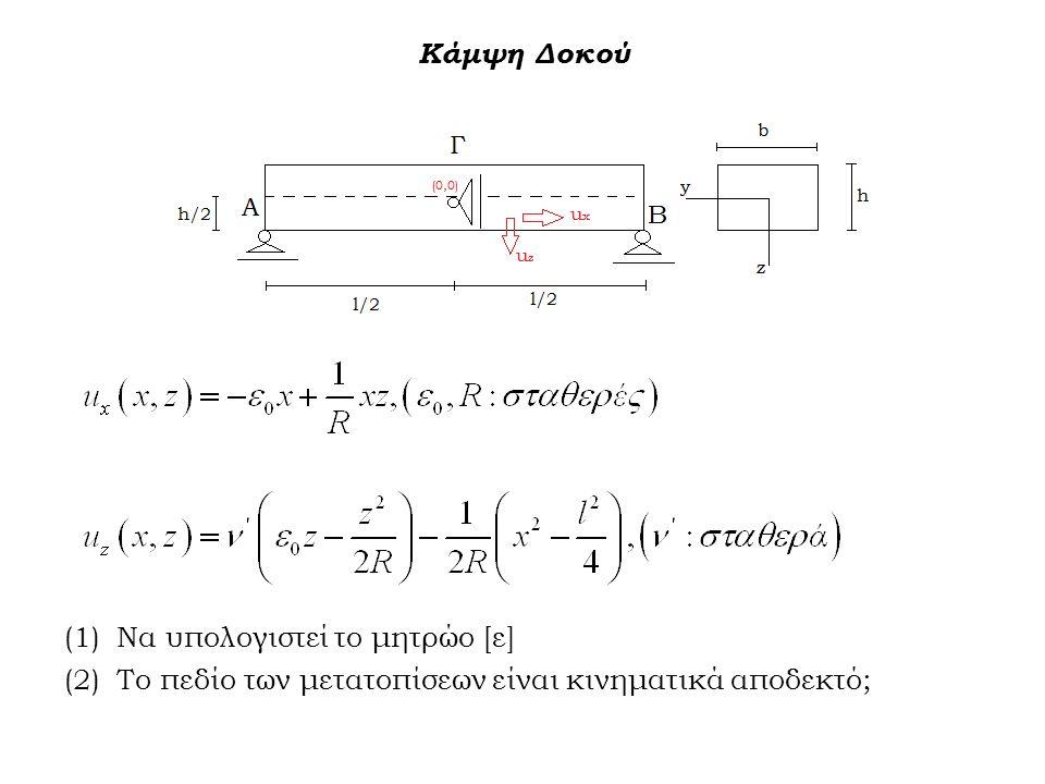 Κάμψη Δοκού (1)Να υπολογιστεί το μητρώο [ε] (2)Το πεδίο των μετατοπίσεων είναι κινηματικά αποδεκτό;