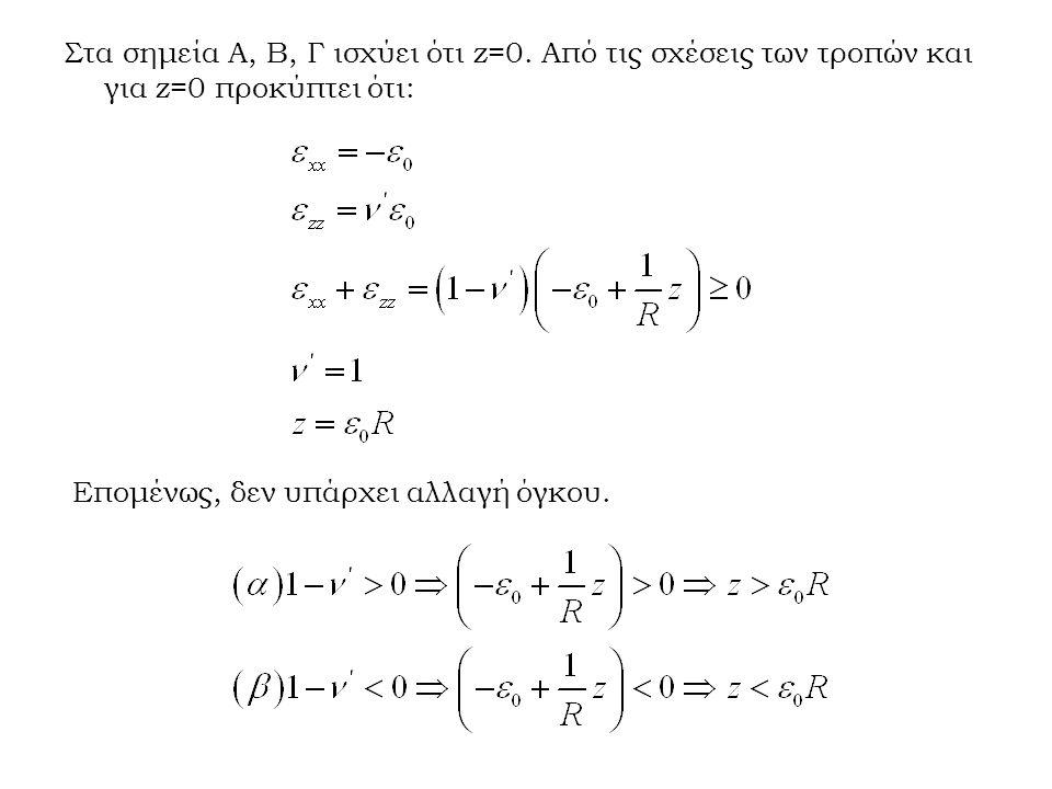 Στα σημεία Α, Β, Γ ισχύει ότι z=0. Από τις σχέσεις των τροπών και για z=0 προκύπτει ότι: Επομένως, δεν υπάρχει αλλαγή όγκου.