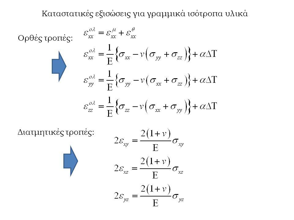 Καταστατικές εξισώσεις για γραμμικά ισότροπα υλικά Ορθές τροπές: Διατμητικές τροπές: