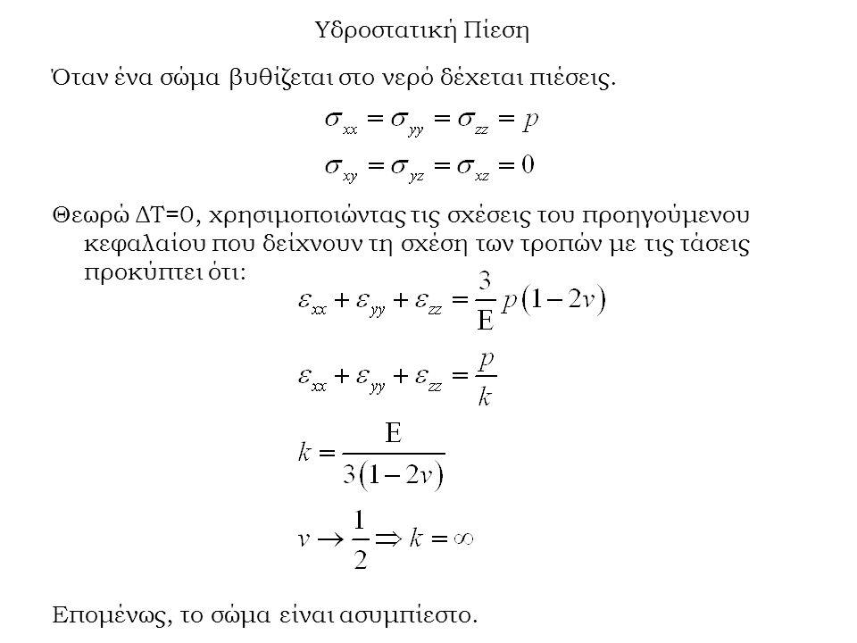 Υδροστατική Πίεση Όταν ένα σώμα βυθίζεται στο νερό δέχεται πιέσεις. Θεωρώ ΔΤ=0, χρησιμοποιώντας τις σχέσεις του προηγούμενου κεφαλαίου που δείχνουν τη